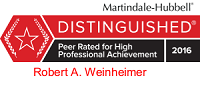 Robert A Weinheimer Martindale Hubbell Rating